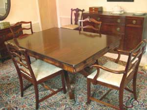 9 pc formal dining room set, natural mahogany with high gloss finish, C 1860