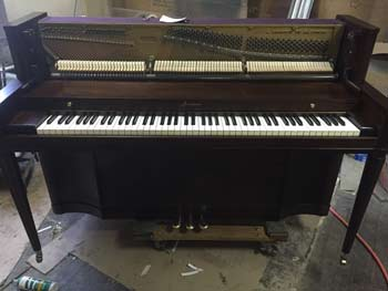Baldwin Acrosonic spinet piano with new keys and restored hammers, new dark mahogany finish, C. 1935